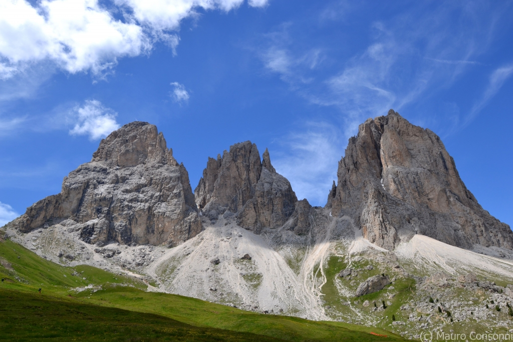 The typical morphology of the Dolomites (Sassolungo Group)