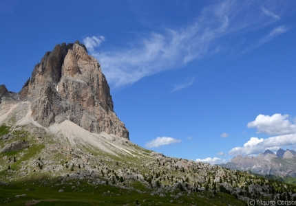 "View of Sassolungo summit and of the ""Città dei Sassi"" (City of stone), the accumulation zone of a large prehistoric rockfall"
